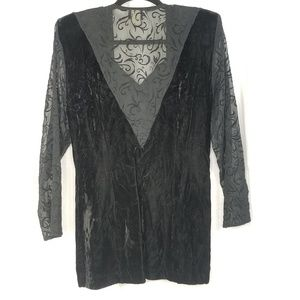 Judy's Tops - Vtg Judy's velvet top size M black sheer sleeves